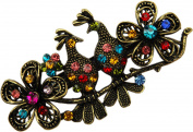 Two Love Birds Multi-coloured Rhinestone Hair Barrette- 7.6cm