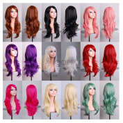 SMILE Wig 70 Cm Harajuku Anime Colourful Cosplay Young Long Curly Synthetic Hair Blonde For Halloween Costume 11 Colours