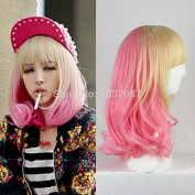 SMILE Wig 40 Cm Harajuku Anime Cosplay Party Wave Curly Synthetic Hair Halloween Costume Pink Blonde Ombre