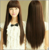 SMILE Wig 3 Colour . Lady 68 cm Black Light Brown Dark Brown Long Straight Synthetic Human Women Cosplay