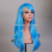 SMILE Wig 70 Cm Harajuku Anime Cosplay Long Curly Wavy Synthetic Hair Blue Full Costume Party s