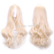 SMILE Wig 70 Cm Harajuku Cosplay Women Sexy Long Wavy Curly Synthetic Hair European American Style Beige Blonde