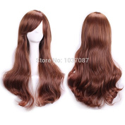 SMILE Wig 70 Cm Light Brown Cosplay Women Ladies Fashion Sexy Not Lace Full Long Wavy Curly Synthetic Hair Party