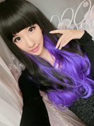 SMILE Wig Anime Cosplay Synthetic Harajuku Long Curly Black Purple Colour Ombre Heat Resistant Lace Front Party Bob Lolita