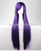 SMILE Wig New Style Long Straight Synthetic Hair Lady's Purple Beautiful Lolita 80 Cm Anime Party Costume Harajuku