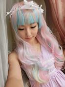 SMILE Wig Harajuku Anime Cosplay Young Long Big Wavy Rainbow Lolita Synthetic Ombre Bang Blue Pink