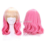 SMILE Wig 40 Cm Harajuku Cosplay Anime For Party Curly High Quality Synthetic Hair Blonde Pink Ombre Women
