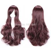 SMILE Wig 70 Cm Harajuku Cosplay Anime Young Long Curly Wavy Synthetic Hair Sexy Dark Brown Halloween Costume