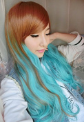 SMILE Wig 75Cm Harajuku Heat Resistant Long Young Big Wavy Curly Bang Dark Brown Blue Colour Ombre Cosplay Party Anime