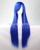 SMILE Wig 80 Cm Long Straight Synthetic Hair Lady's Blue Beautiful Lolita Anime Party Costume Harajuku