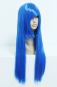 SMILE Top Quality 70cm Long Straight Blue Anime Synthetic Hair Cosplay Wig