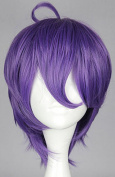 SMILE Purple Mixed KasenKanesada Short Straight Hair Girl Full Wigs Cosplay Party Wig