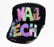 Handmade Custom Nail Tech W. Crystals Black Cadet Cap Hair Stylist Salon