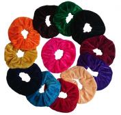 Aadya's SET of 12 Velvet Hair Scrunchies Elastic Scrunchy Hair Bobbles In 3 Different Size (Small, Large, Jumbo) (Large