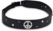 Black Leather Elastic Headband with Peace Sign & Gems