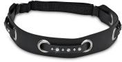 Black Leather Elastic Headband with Black Weaved Studded Strap