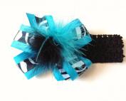 Baby Girls Aqua Turquoise Black White Zebra Hair Bow on Crochet Headband Princess Hair Bow