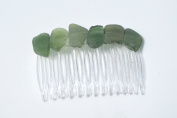 Shades of Genuine Dark Green Sea Glass Hair Comb