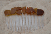 Small Brown Bits of Sea Glass Hair Comb