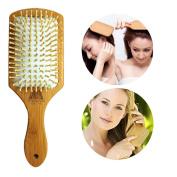 Natural Bamboo Sub-Rubber Paddle Cushion Comb Hair Massage Comb
