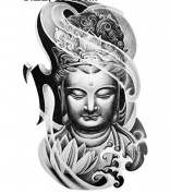 Premium Temporary Tattoo Sleeves 2 Bodhi (Buddah) Arm Sleeves