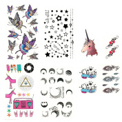 Winstonia Water Transfer Temporary Body Tattoo Decal Stickers Art Non Toxic Bundle Set - Butterflies, Moons, Stars, Unicorn, Feather etc