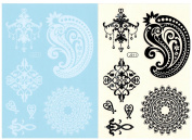 BTArtbox Fashion Black & White Lace Bady Art Stickers Removable Waterproof Temporary Tattoo All-In-One Package 2 Sheets - Drop Shape Pattern