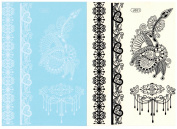 BTArtbox Fashion Black & White Lace Bady Art Stickers Removable Waterproof Temporary Tattoo All-In-One Package 2 Sheets - Heart With Wing Pattern