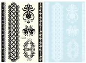 BTArtbox Fashion Black & White Lace Bady Art Stickers Removable Waterproof Temporary Tattoo All-In-One Package 2 Sheets - Speacial Pattern
