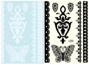 BTArtbox Fashion Black & White Lace Bady Art Stickers Removable Waterproof Temporary Tattoo All-In-One Package 2 Sheets - Lace Butterfly Pattern