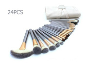 eNilecor 24 PCS Professional Makeup Brushes Set Natural Cosmetic Brush Set with Leather Cae Bag for Eyeliner Face Concealer