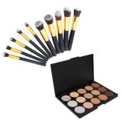 Mefeir® 6.14 x 10cm x 1.2cm 15 Colour Face Cream Camouflage Concealer Makeup Cosmetic Palette + 10pcs Professional Cosmetic Makeup Foundation Brushes Set Black & Golden