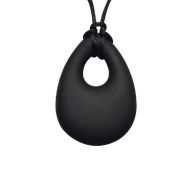 Silicone Teething Necklace, Black Teardrop, BPA, Lead, & Dioxin Free