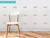 Clouds Fabric Wall Decals - Set of 18 Clouds - Beige - Modern Cloud Silhouette Wall Decor - Reusable, Repositionable