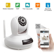 Lefun(TM) Wireless IP 720P HD Wifi Camera Two-Way Built-in Microphone Audio Smooth Pan and Tilt Day/Night Vision Internet Network Surveillance Camera with Remote Monitoring for Android Smartphone Tablet and IOS iPhone iPad