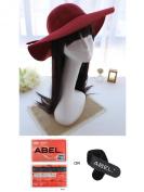 New Vintage Women Lady Wide Brim Wool felt Bowler Fedora Hats Floppy Cloche Cap Wine Red