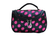 DRQ Cosmetic Makeup Bag-Unique Dots Pattern Lady Makeup Cosmetic Hand Case Pouch Bag + Mirror
