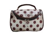 DRQ Cosmetic Makeup Bag-Unique Dots Pattern Lady Makeup Cosmetic Hand Case Pouch Bag + Mirror