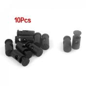 Black Plastic Toggles Spring Stop Drawstring Rope Cord Locks 10 Pcs