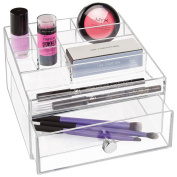 mDesign Cosmetic Organiser Divided with 1 Drawer, Clear