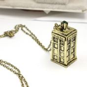 Banggood Doctor Who 3D Tardis Police Box Pewter Tall Long Chain Simple Unisex Necklace