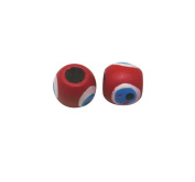 Amanteao 11mmX12.5mm Red White Blue Wood Beads Pack of 50