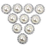 Beautiful Bead 10 pcs 21mm Faux Pearl Simulant Beaded Popper Press Studs Snap Buttons Fasteners Beige