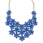 Beautiful Bead Vintage Resin Flower Pendant Necklace Choker Collar Jewellery Blue