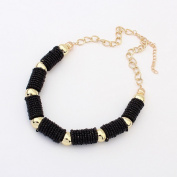 Beautiful Bead A Bohemian Simple Handmade Beads Cylinder Necklace Black