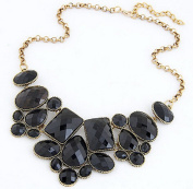Beautiful Bead Irregular Geometric Charms Pendant Crystal Beads Dangle Necklace Black