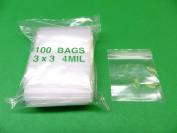 100 7.6cm x 7.6cm ZIPLOCK 4MIL RECLOSABLE BAGS HEAVY DUTY 3x 3 SQUARE QUALITY BRAND RELOC