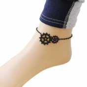 Voberry® 1pc New Fashion Womens Punk Jewellery Gothic Fresh Sweet Anklet Black with Gear Pendant