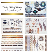 Flash Tattoos - Premium Quality Body Art By Sterling James Co. - 5 Sheets - Metallic Temporary Tattoos - Body Art