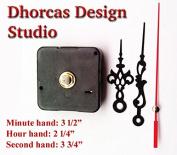 Dhorcas (#020) 0.5cm Threaded Motor and Black 8.9cm Hands, Quartz Clock Movement Kit for Replacement